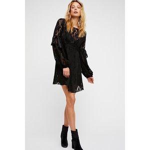 Free People Ruby Crochet Lace Mini Dress Black M